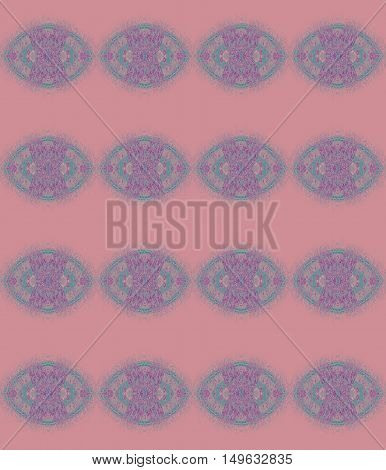 Abstract geometric seamless background. Regular ellipses pattern turquoise and purple on pink.