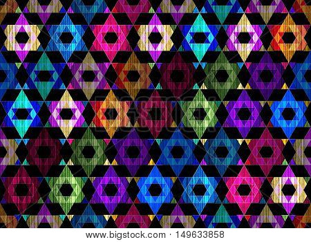 Bright grunge bohemia geometric light crystals abstract geometric textured art pattern on black
