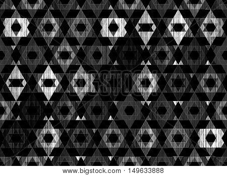 Bright grunge bohemia geometric abstract geometric textured art pattern black and white