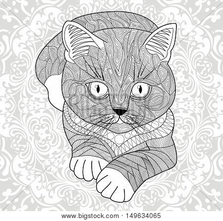 Plinth for t-shirts, vector. Coloring pages for adults, antistress hand painted cat with tribal pattern. Abstract mandala flower.