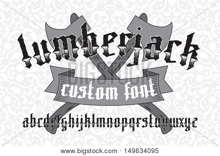 Lumberjack custom gothic alphabet font set on floral pattern background and two old axes.  New modern vector typeface