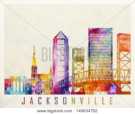 Jacksonville landmarks in artistic abstrack watercolor poster