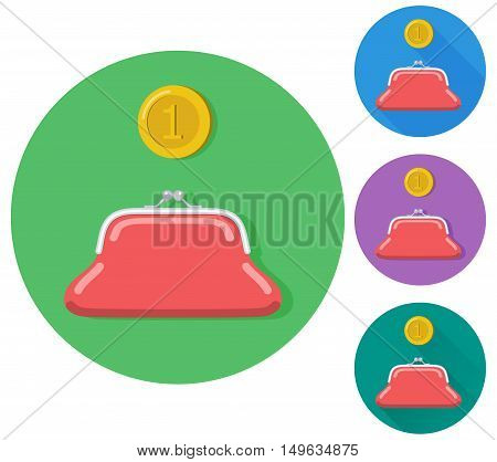 Vector flat gold coin with a purse icon. Flat icon on buttons