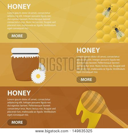 Vector flat horizontal banners of honey for website. Business concept of apiary and honey extraction.