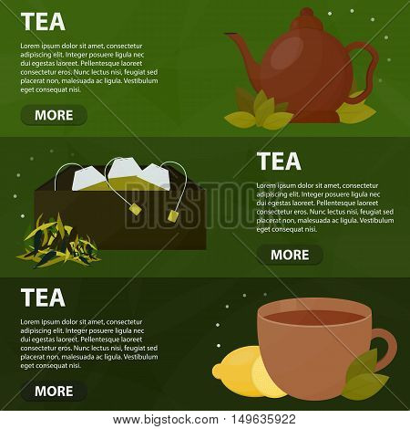 Vector flat banners of tea for website. Business concept of tea ceremony. Posters for drink menu.