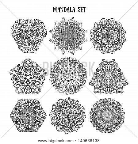 Mandala Set of ethnic ornamental patterns. Lace manala circular ornaments. Traditional Indian, Islamic, Asian, Arabic motifs. Vector illustration