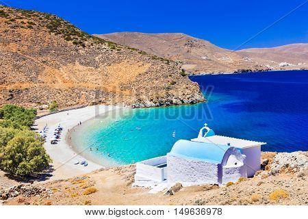 beautiful beaches of Greece - Astypalaia island , and little church Agios Konstantinos
