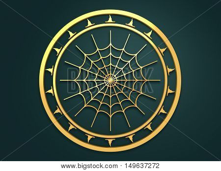 Carved stamp with spider web. 3d rendering. Metallic material. Golden seal