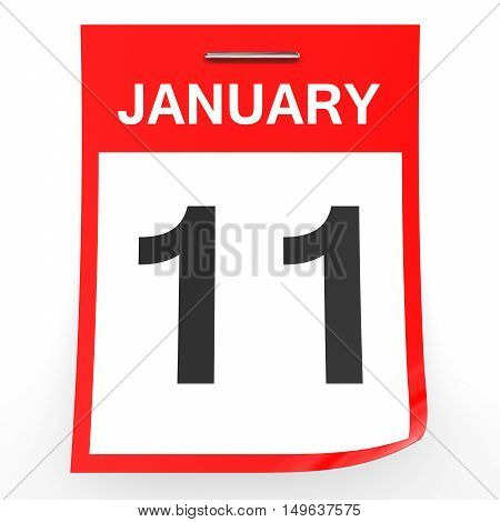 January 11. Calendar On White Background.