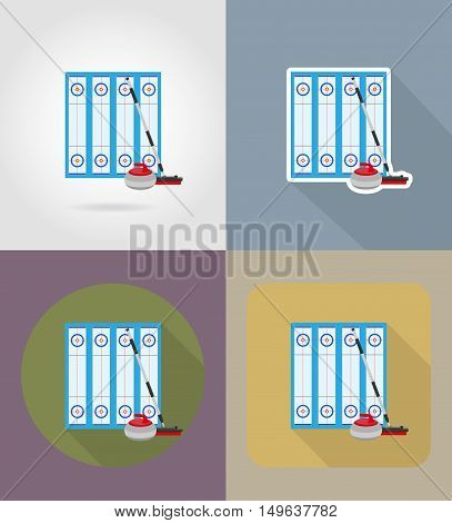 playground for curling sport game flat icons vector illustration isolated on background