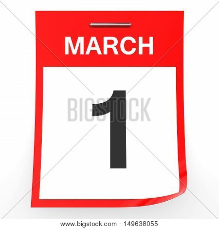March 1. Calendar On White Background.