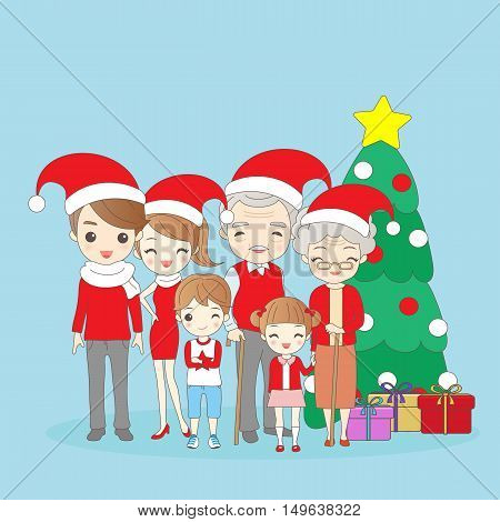 christmas cartoon family is smile happily to you