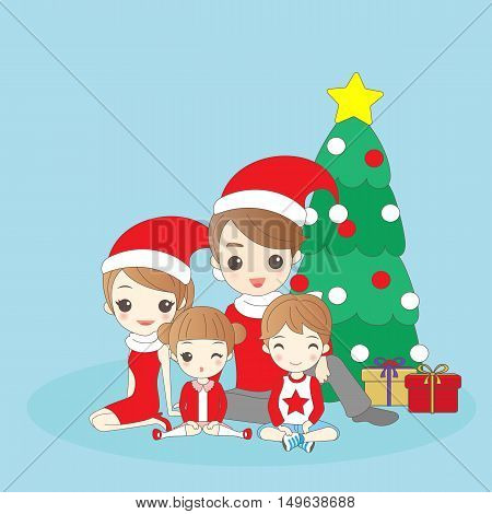 cartoon christmas family is smling happily to you