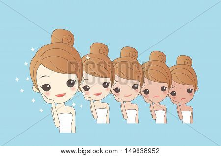 cartoon girls face whitening great for your design