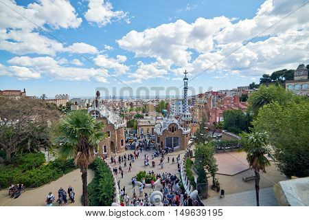Images of famous Park Guell in Barcelona, Spain