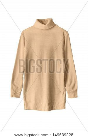 Yellow basic wool sweater on white background