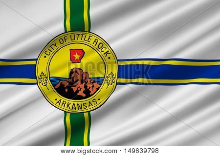 Flag of Little Rock in Arkansas state of United States. 3D illustration
