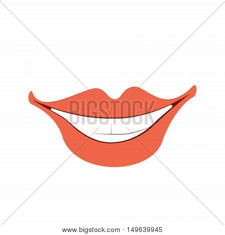 Smile with white teeth. Vector illustration of isolated flat