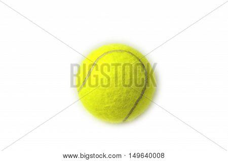 Single yellow tennis ball on white background.