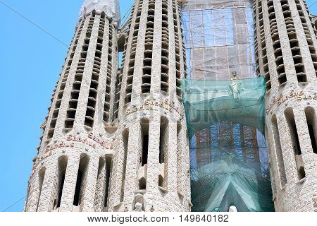 Partial view of the Sagrada Familia, a large Roman Catholic church in Barcelona, Spain