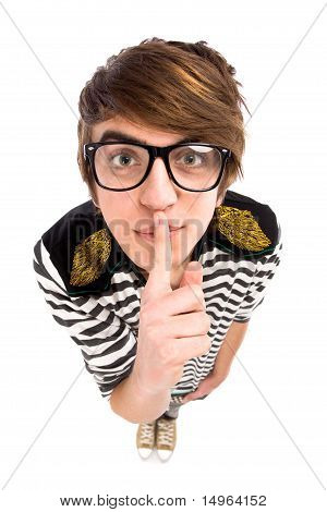 Boy Making Silence Gesture