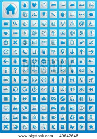 Big icons set full vector isolated elements
