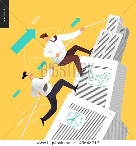 Climbing in a stack of accounting documents, business partnership concept - two business people rising the mountain stacked of accounting documents hips, helping to each other.