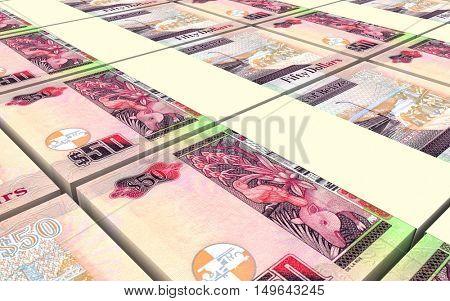 Belizian dollar bills stacks background. 3D illustration.