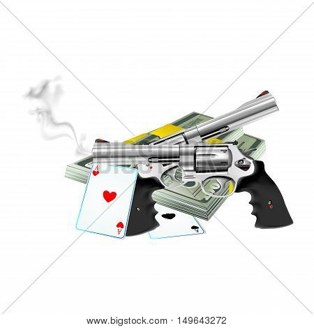 Two pistol revolver with bundles of money and playing cards. Isolated objects can be used with any image or text all individual elements