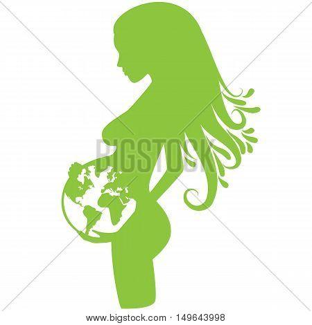 Green earth pregnancy illustration full vector element