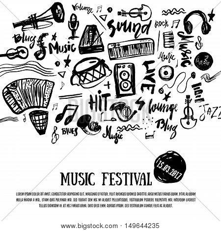 Music elements. Grunge musical background. Vector illustration. Black notes symbols for music festival backgraunds. Note value. Music staff