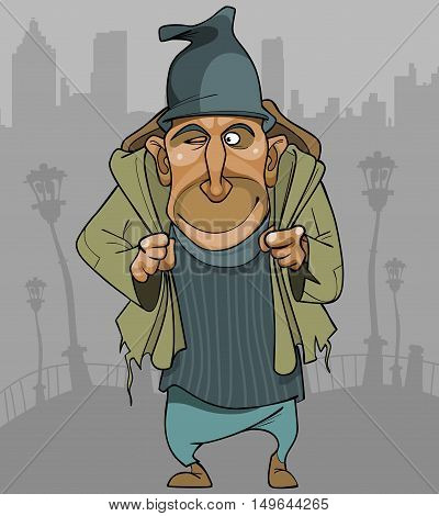 cartoon man in ragged clothes with a backpack in the city