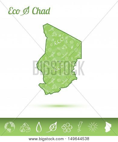 Chad Eco Map Filled With Green Pattern. Green Counrty Map With Ecology Concept Design Elements. Vect