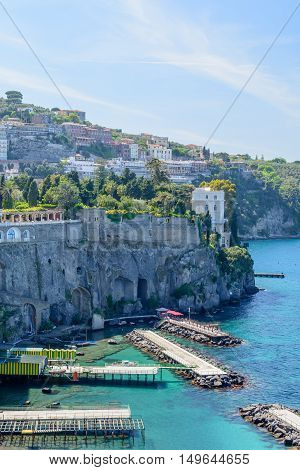 Sorrento, Italy - June 11: Historic Buildings At Port On June 11, 2016 In Sorrento, Italy. Sorrento