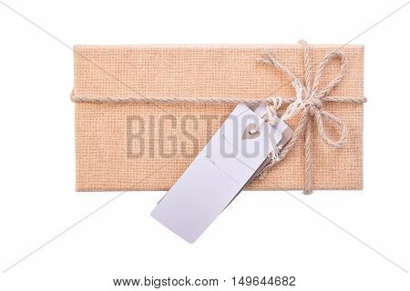 Top view gift box recycle packthread with tag  Isolated on White Background