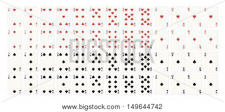 Full set of playing cards. 52 cards poker in casino. Vector illustration on white background.