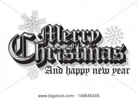 Vintage Merry Christmas lettering design
