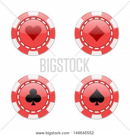 Chips for poker. Colored chips with signs hearts diamonds clubs spades. Isolated vector illustration on white background.