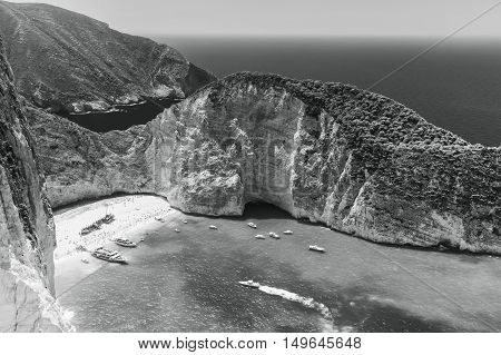 Black And White Landscape Of Navagio Bay