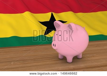 Ghana Finance Concept - Piggybank In Front Of Ghanese Flag 3D Illustration