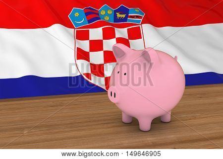 Croatia Finance Concept - Piggybank In Front Of Croatian Flag 3D Illustration
