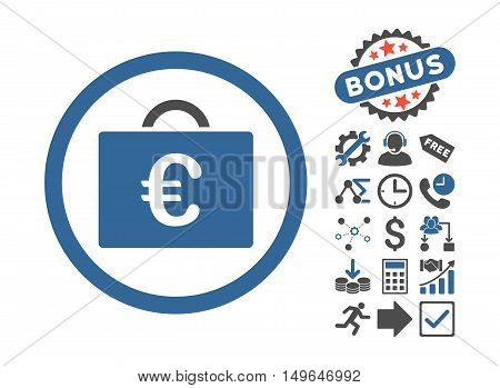 Euro Bookkeeping Case icon with bonus clip art. Glyph illustration style is flat iconic bicolor symbols, cobalt and gray colors, white background.