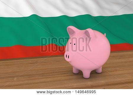 Bulgaria Finance Concept - Piggybank In Front Of Bulgarian Flag 3D Illustration