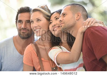 Middle-aged couples on vacation enjoying being together