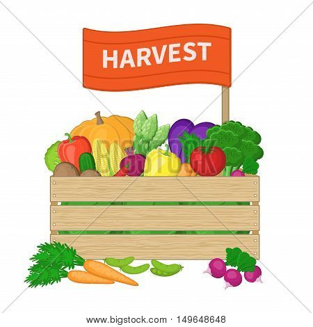 Harvest in a wooden box with the inscription on the label. Crate with autumn vegetables. Fresh Organic food from the farm. Vector illustration of the autumn harvest isolated on white background.