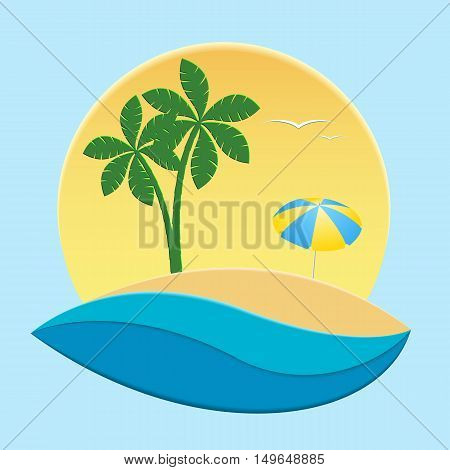 Tropical sandy island in the ocean with palm trees in the background of the sun. Vector illustration.