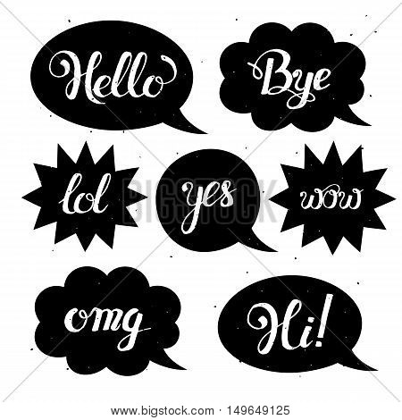 Vector set of comic speech bubbles in trendy flat style. Hand drawn set of speech bubbles with phrases Hi, Hello, Thank you, Yes, Wow, Bye.Cute Internet Slang Wording Vector Design Illustration