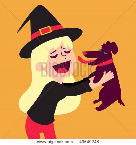 Cute Witch Holding Dog