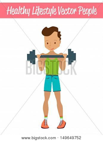 Flat Healthy Lifestyle Vector People Illustration with Fitness Guy Wearing Sportswear, Exercising and Lifting Weights. Isolated Colorful Sport Illustration