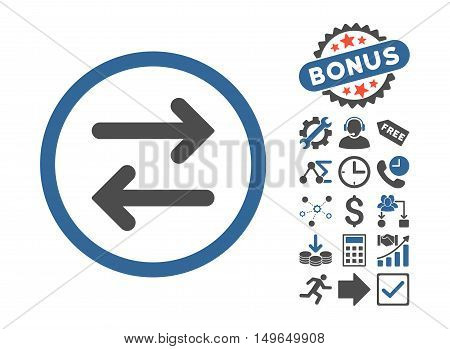 Flip Horizontal pictograph with bonus pictograph collection. Glyph illustration style is flat iconic bicolor symbols, cobalt and gray colors, white background.